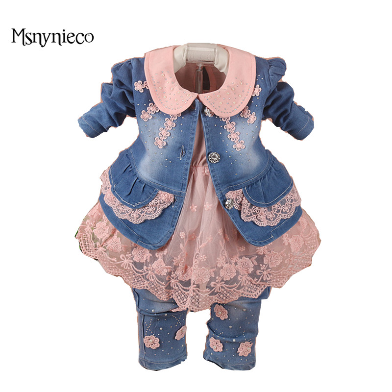 Baby Girl Clothes Sets 2017 Brand Baby Girls Denim Suit Jacket+T-shirt+Jeans Kids 3pcs Suits Infant Baby Clothing Costume baby fashion clothing kids girls cowboy suit children girls sports denimclothes letter denim jacket t shirt pants 3pcs set 4 13