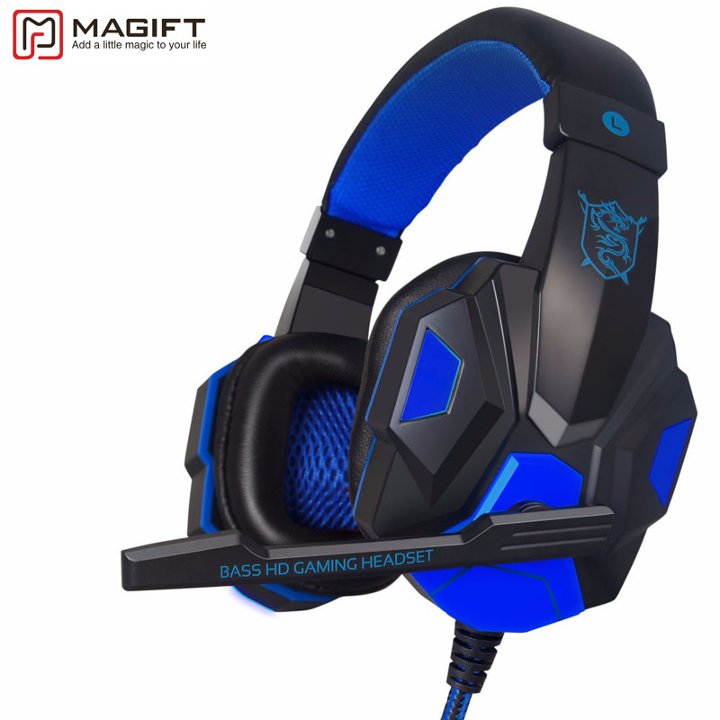 High Quality Sound Effect Gaming Headset with LED Light Over Ear Glowing Stereo Headphones with Mic for Computer PC Laptop Gamer
