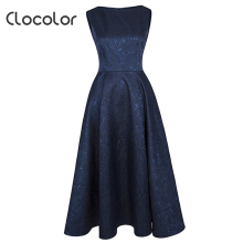 Фотография Clocolor 2017 vintage christening dress women Autumn winter sleeveless jacquard elegant Party night Female Vestidos Plus Size