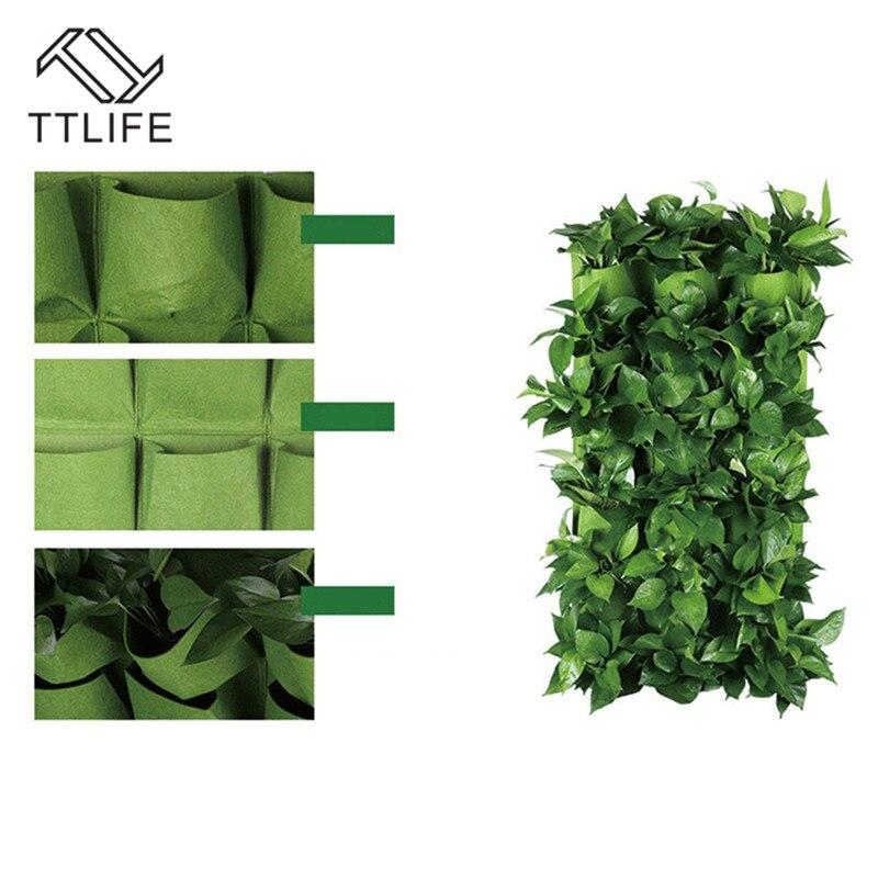TTLIFE Wall Hanging Planting Grow Bags 36 Pockets Green Bonsai Bag Planter Vertical Garden Flowers Supply Home Office Decoration