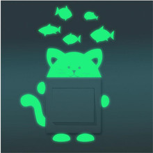1PCS Cartoon Cat Fish Switch Stickers Luminous Animal Wall For Home Interior Living Room Decoration Accessories Modem