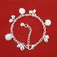 Anklets –  FREE SHIPPING 2015 HOT NEW FASHION Ethnic Style Bells Cute Plating Silver Balls Bangle Bracelet Jewelry#1515559