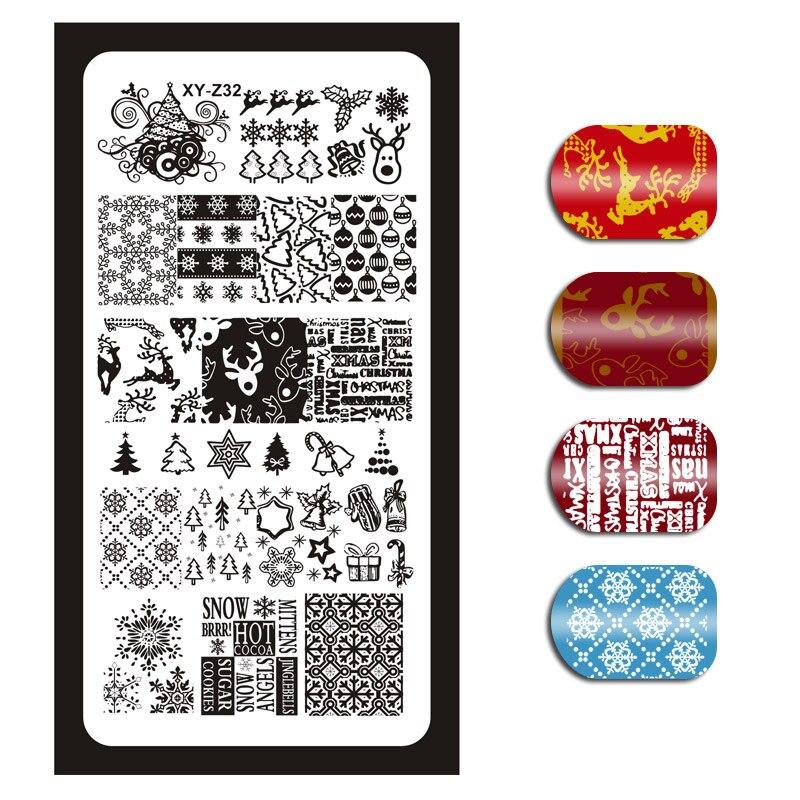 1 Pcs Christmas Nail Art Image Stamp Stamping Plates Snowflake Reindeer Xmas Tree Bells Pattern Nails Templates DIY Plates 31 in Nail Art Templates from Beauty Health