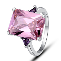 New Free Shiping Fashion Jewelry Endearing 925 Silver Ring Inlay Pink Topaz Gift For Women Size 7 8 9 10 Wholesale