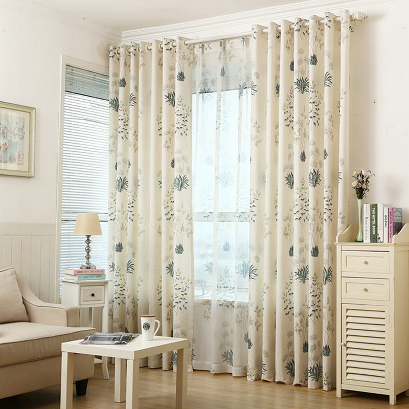 US $9.34 43% OFF|Foral Window Curtains for Living Room Blackout Blinds for  Bedroom Off White Tulle Ready made Window Treatment/Drapes-in Curtains from  ...