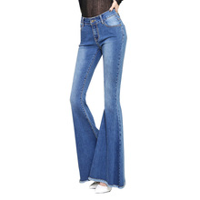 New Women Slim Middle Waisted Stretch Fringed Female Cowboy Women Designer Wide Leg Jeans AD9532