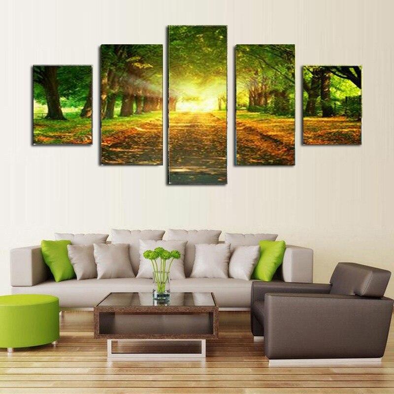 5 Piece Canvas Art Print Large Oil Paintng Sunlight Green
