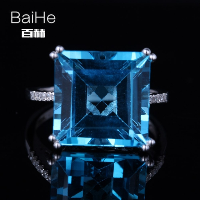 BAIHE Sterling Silver 925 12.82ct Certified Flawless 100% Genuine Blue Topaz Engagement Women Trendy Fine Jewelry gift Ring