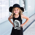 Black Hot sale Summer Kids Girls Sleeveless Mini Dress Cotton Fringe Tassels Princess Party Dresses