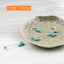 Toketorism Artificial turquoise decoration neck chain for glasses women vintage sunglasses cord TM1