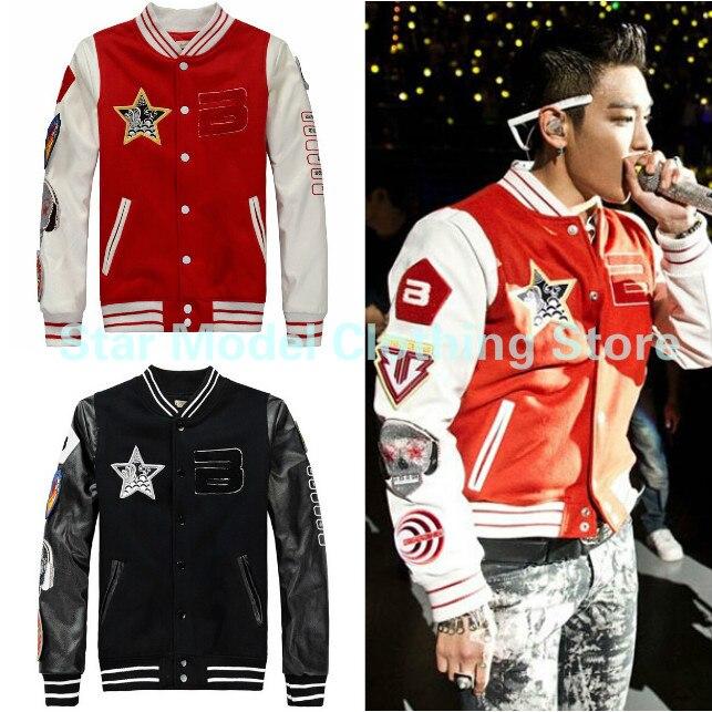 Kpop Bigbang manteau g-dragon veste 2015 nouveau hiver Bigbang GD Badge Baseball uniforme coréen décontracté sweat Bigbang veste