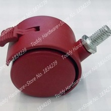 2pcs Dia 42mm/1.6 inch red wheel with brake furniture silent caster wheel