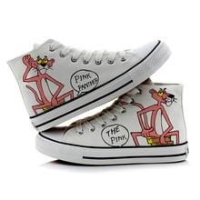 Nuevos zapatos de lona pintados a mano de Pantera Rosa de dibujos animados, zapatos de tela altos para mujer, diseños de cuatro estilos para elegir zapatillas informales blancas