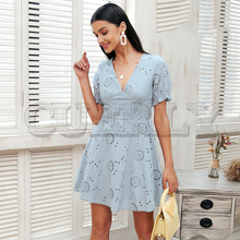 CUERLY Hollow out embroidery white dress Women v neck streetwear causal 2019 Summer style short cotton vestidos