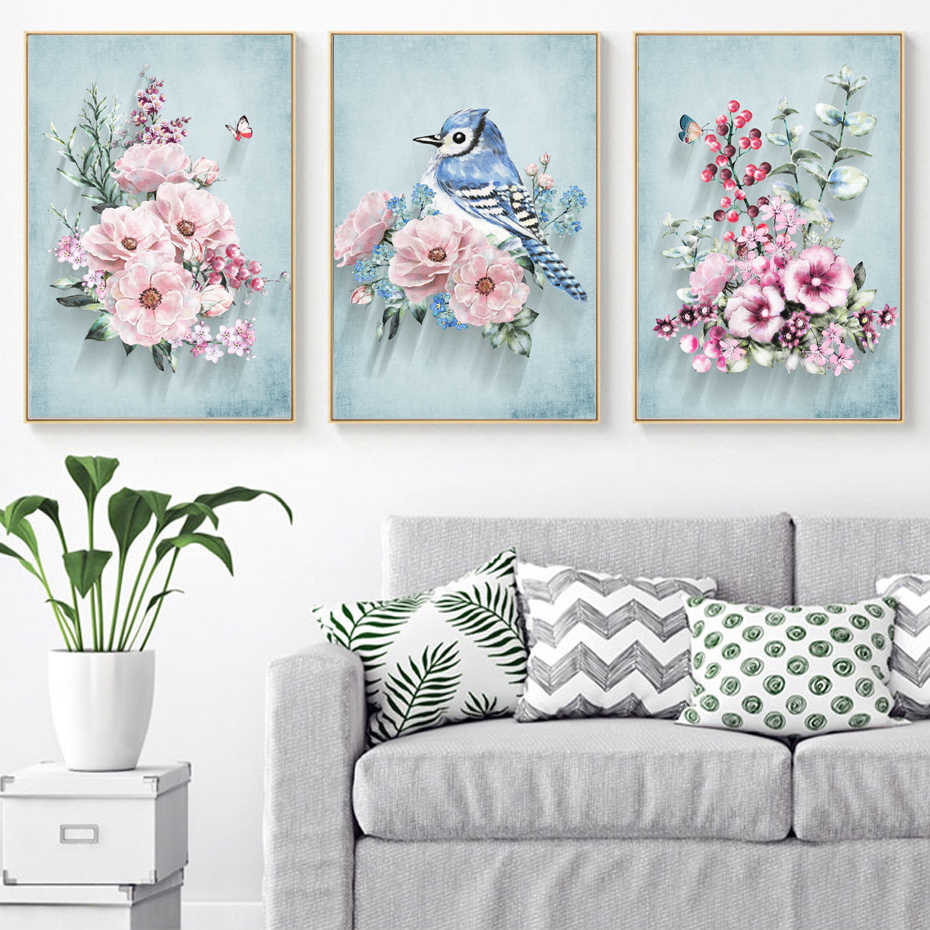 SURE LIFE Nordic Pink Peony Flower Bird Wall Art Canvas 3 Piece Paintings Pictures Poster Prints For Living Room Home Decoration