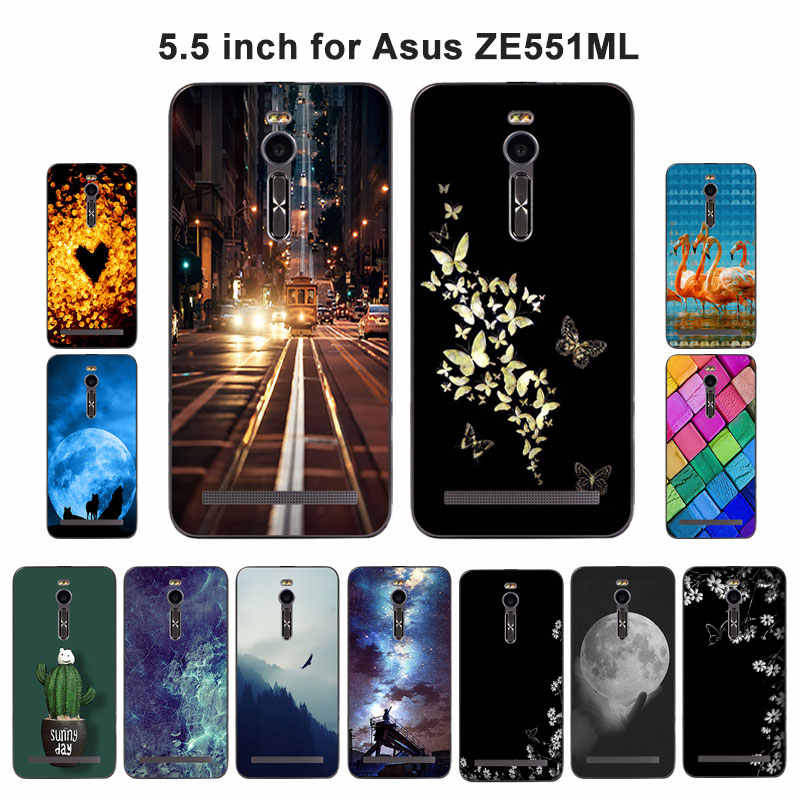 """ل Asus Zenfone 2 ZE551ML حالة كشر نمط لينة سيليكون الغطاء الخلفي حالة 5.5 """"ل ASUS ZE551ML ZE550ML الهاتف حالات"""