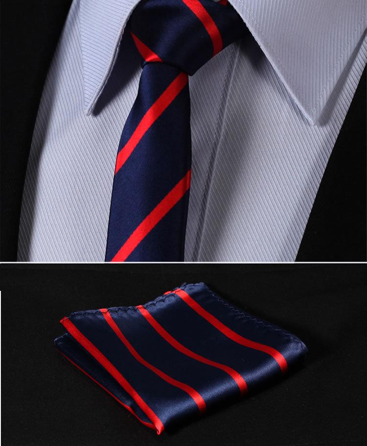 "TS2013R5 Red Navy Blue Stripe 2.17"" 100%Silk Woven Slim Skinny Narrow Men Tie Necktie Handkerchief Pocket Square Suit Set"