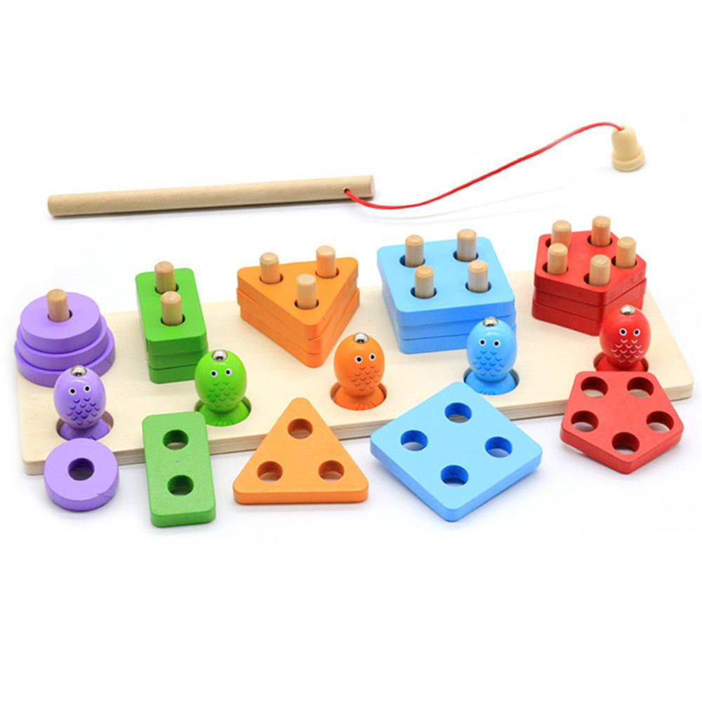 Wooden Toys For Children Geometric Shapes Magnetic Fishing Montessori Puzzle Kids Early Learning Educational Games Fishing Toys