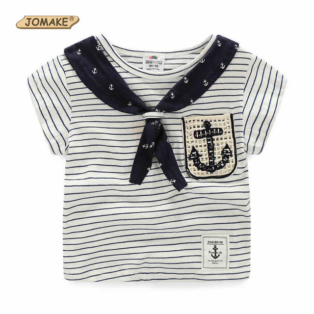 New Arrival Summer School Style Baby Kids T-Shirts Striped Sailor Collar Children Short Sleeve Casual Baby Girls/Boys Clothes