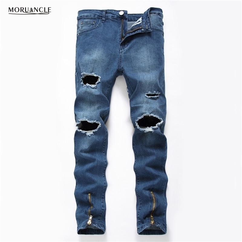 MORUANCLE Hi Street font b Mens b font Ripped font b Jeans b font Joggers Streetwear