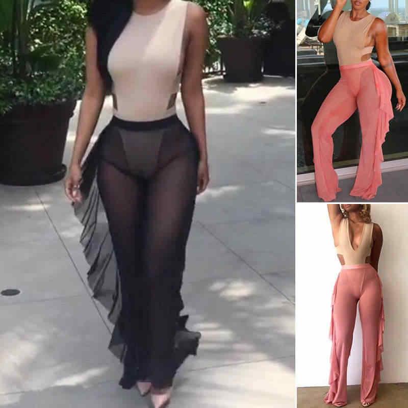cf993c5415 Womens Sexy Beach Mesh Sheer Bikini Cover Up Swimwear Bathing Pants  Trousers Summer Tassels Bodycon Solid