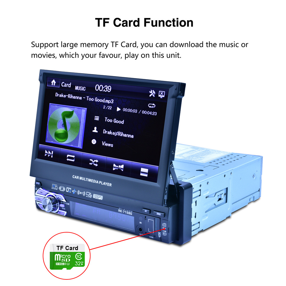 Auto 7 pouces autoradio Navigation GPS entièrement automatique voiture télescopique MP5 MP4 lecteur MP3 coloré lumières Machine affichage - 4