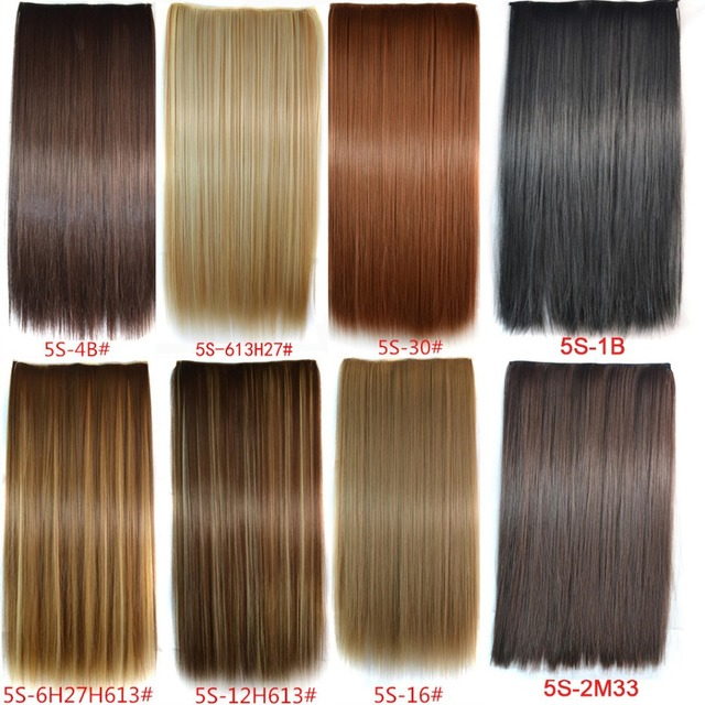 1PC+16 Colors New Long 24inch 60cm 120G Clip in On Hair Extensions Straight Clip On Hairpieces Synthetic Hair Clip Free Shipping