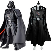 Star Wars Darth Vader Black Suit Movie Halloween Carnival Cosplay Costume For Men Cloak Top Pants Free Shipping Custom Made