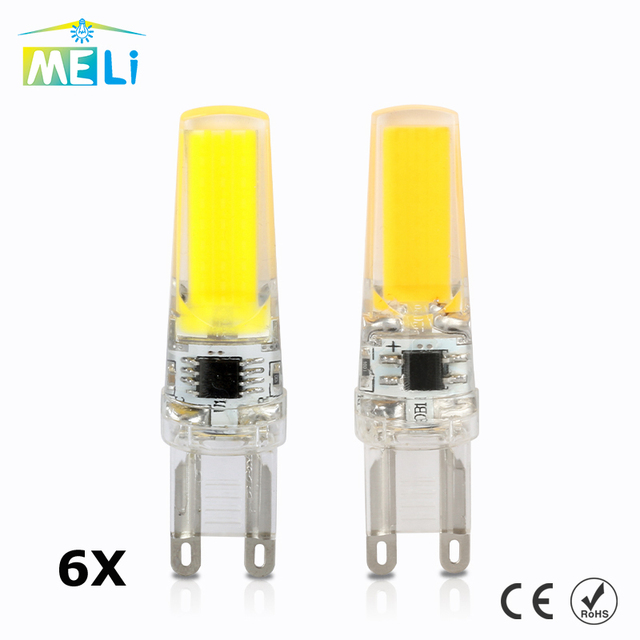6 STKS MELI G9 Led Lamp Dimmen 220 V 3 W COB SMD Led verlichting ...
