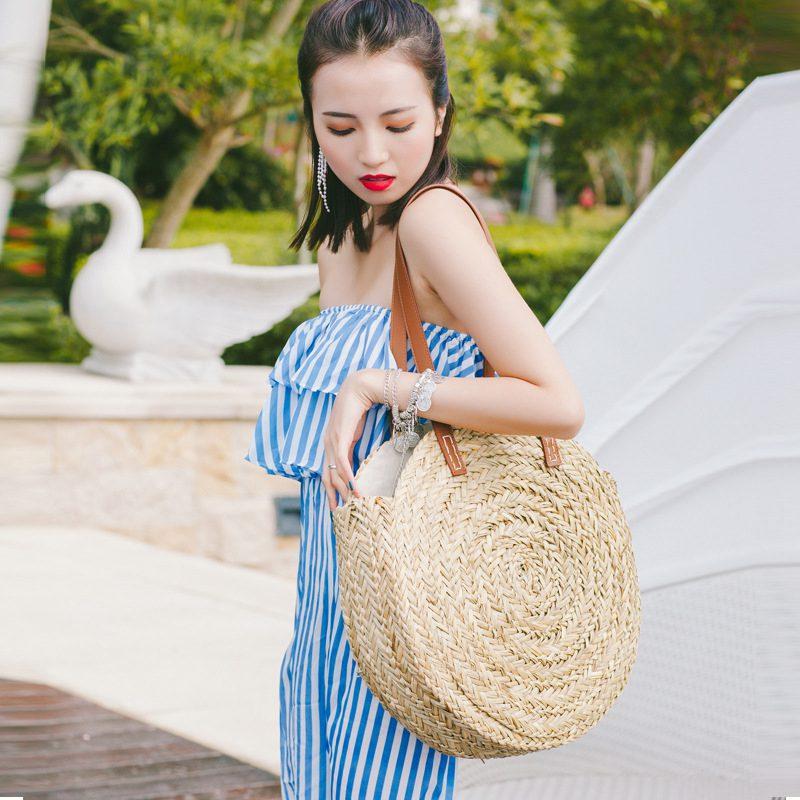 Sacos de palha redondos marroquino palma cesta
