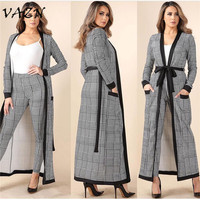 VAZN 2018 New Style Fashion 3 Pieces Women Set Casual Solid Outwear X long Full Sleeve Belt Tank Long Jumpsuit AM257