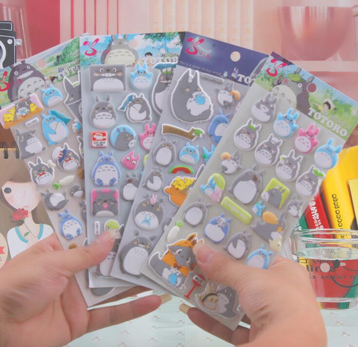 4 Sheets Kawaii My Neighbor Totoro Cartoon 3D Stickers Diary Sticker Scrapbook Decoration PVC Stationery Stickers my fairies sticker storybook