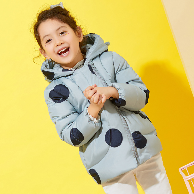 New Design Girls White Duck Down Jackets And Coats Dot Winter Thick Hooded Children Down Coats Outerwear Overcoat Parka 2-8 Yrs buenos ninos thick winter children jackets girls boys coats hooded raccoon fur collar kids outerwear duck down padded snowsuit