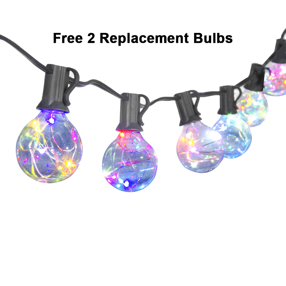 LED String Lights 25Ft 25Clear G40 Globe Bulbs Color Changing Flashing Waterproof Outdoor Decoration Garland Halloween