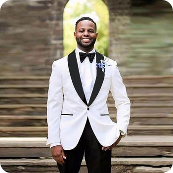 Hot Recommend One Button Ivory Groom Tuxedos Groomsmen Shawl Lapel Mens Suits Blazers (Jacket+Pants+Tie) W:915