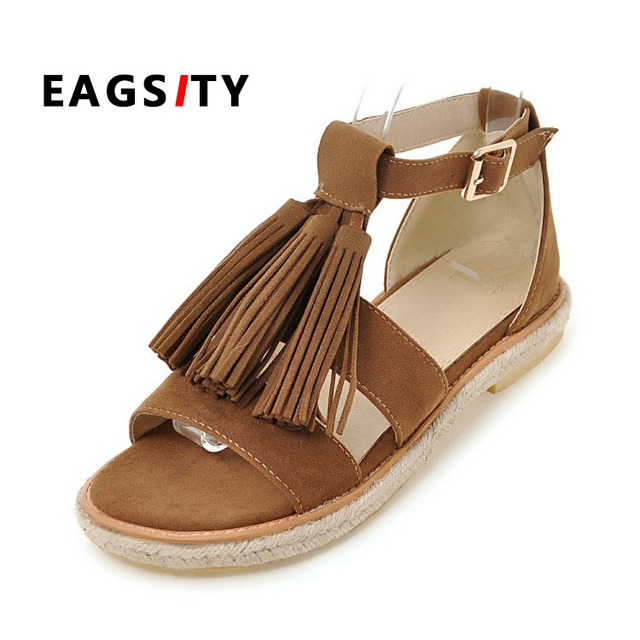 19be408d7129f spring summer rope sole flats women sandals shoes buckle strap tassel  decoration lady casual beach sandals Bohemia style