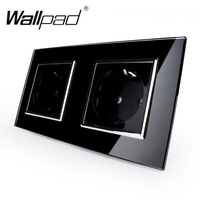 New Arrival CE Wallpad Luxury Black Crystal Glass EU European Standard 156 86mm Double 16A Plug
