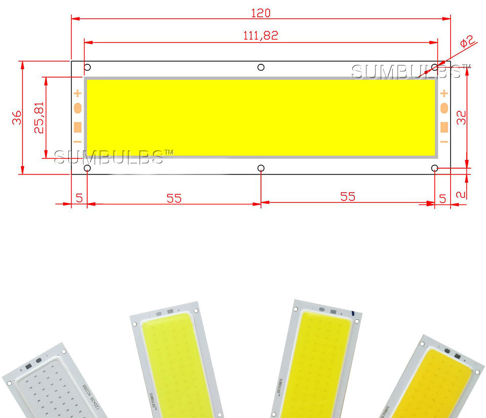 Sumbulbs 120x36mm 1000lm Ultra Bright Led Light Source 12v 10w Cob How To Build Lamp Strip Bulb Dc Warm Natural Cold White Blue