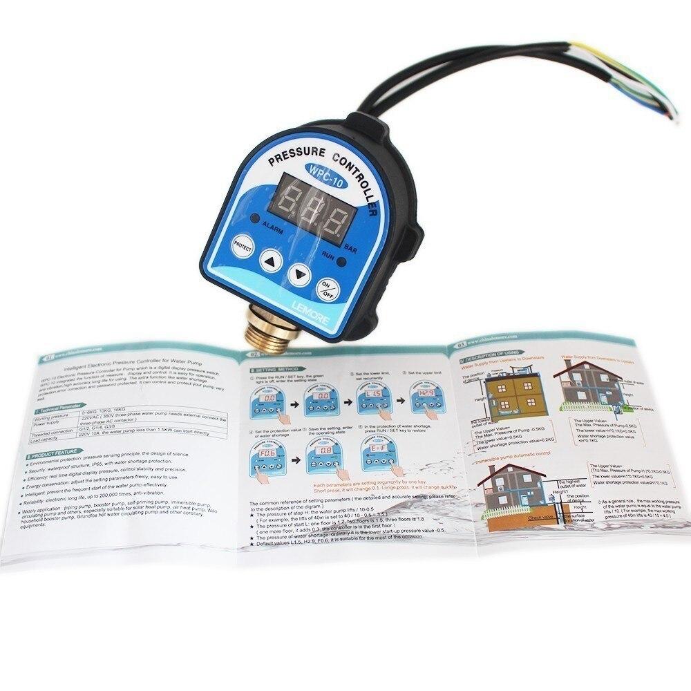"Image 5 - مفتاح التحكم بالضغط الرقمي WPC 10 ، شاشة ديجيتال WPC 10 تحكم الضغط الكهربائي لمضخة المياه مع محول G1/2""مضخات   -"