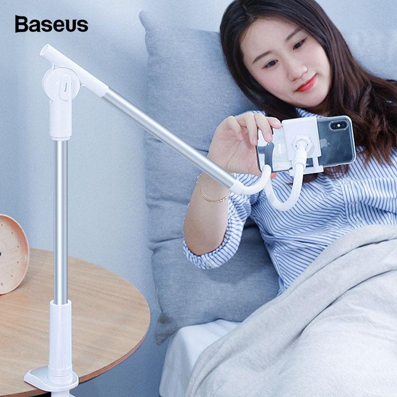 Baseus 360 Rotating Flexible Long Arm Lazy Phone Holder For iPhone Xiaomi Adjustable Desktop Bed Tablet Clip Mobile Phone Holder
