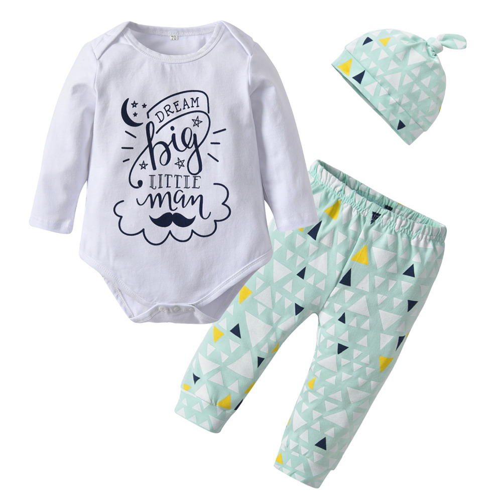 Infant Romper Baby Boys Clothes Set Tops Pants Hat 3pcs Long Sleeves Outfits New