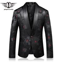 Plyesxale Prom Blazer Men 2018 Slim Fit Mens Shawl Collar Blazer Fashion Printed Male Stage Wear Casual Terno Masculino Q263