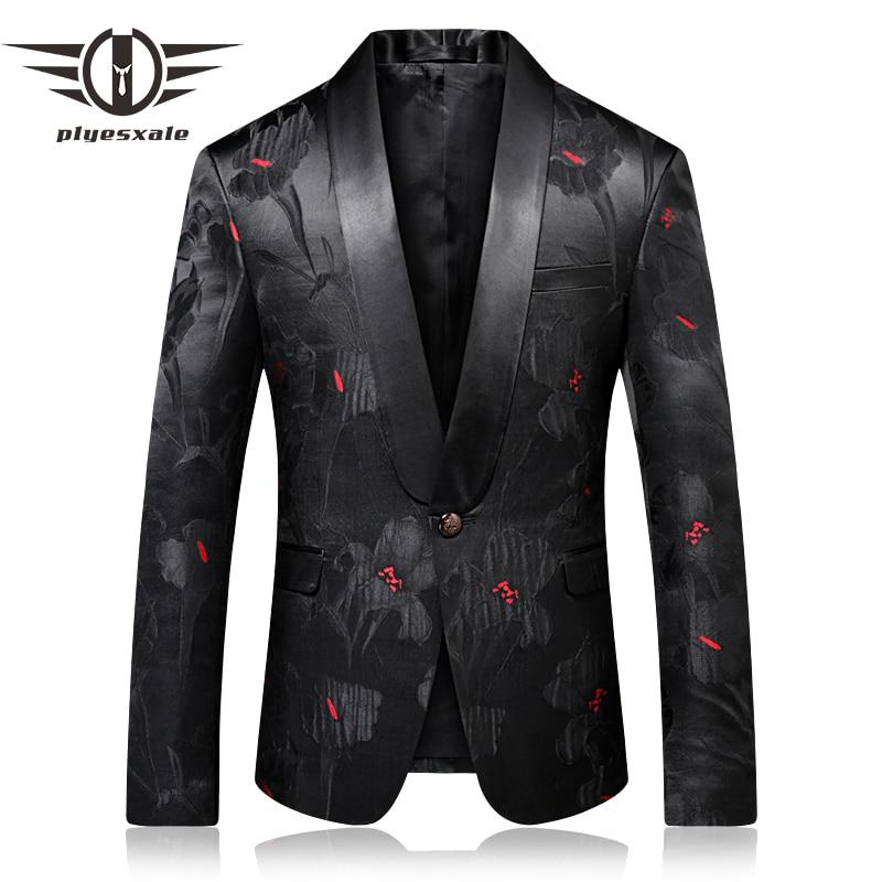 Plyesxale prom السترة الرجال 2018 ضئيلة تناسب الرجال شال طوق سترة الأزياء المطبوعة الذكور مرحلة ارتداء عارضة terno masculino Q263-في السترات من ملابس الرجال على  مجموعة 1