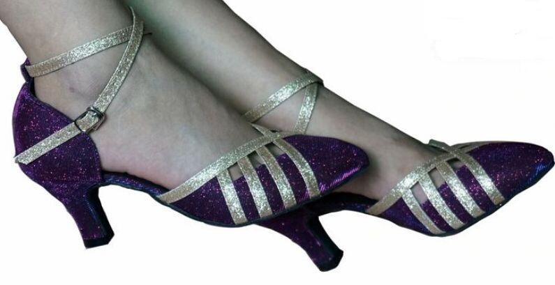 New Free Shipping Purple Glitter Closed Toe font b Dance b font Shoe Ballroom Salsa Latin