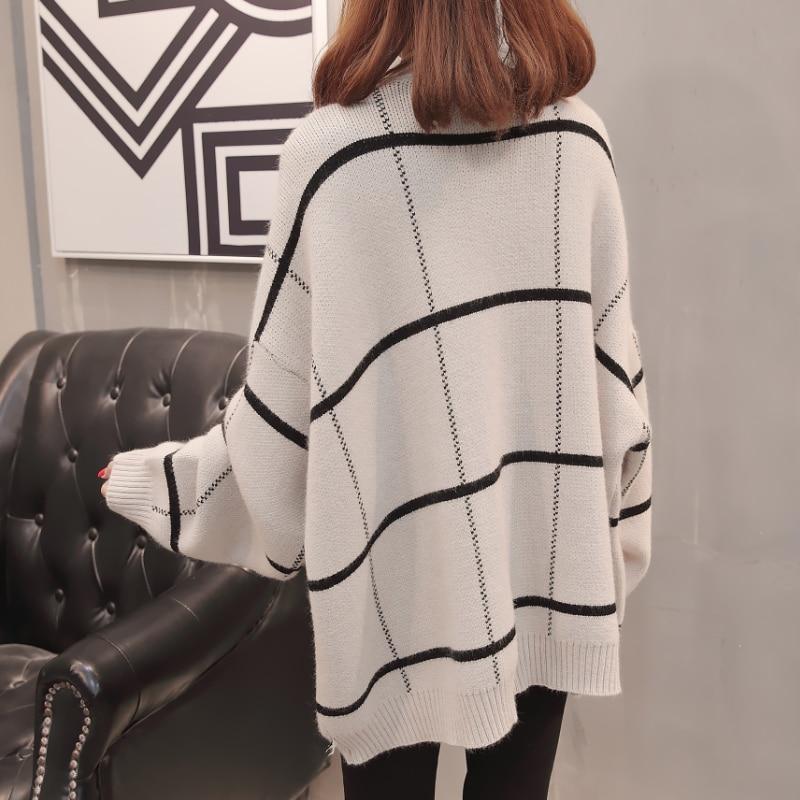 2019 femmes à manches longues tricoté Cardigan chandail avec boutons dames automne hiver 2019 nouveau surdimensionné cachemire chandails manteau XXXL - 4