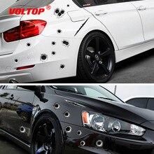 Voiture autocollants 3D balle trou drôle décalcomanie bâches de voiture moto gratter réaliste balle trou étanche autocollants voiture accessoires