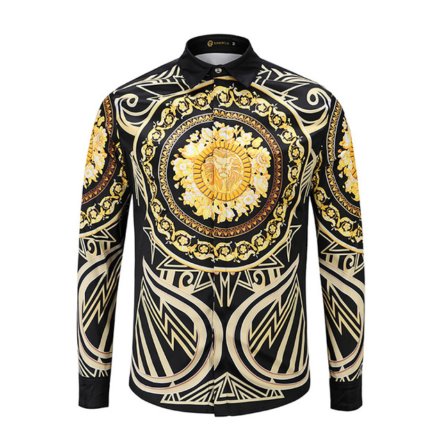 XIMIWUA 2019 جديد وصول 3d قمصان الرجال عارضة ضئيلة تناسب نمط بدوره إلى أسفل طوق طويل الأكمام الرجال قمصان camisa الغمد