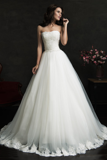 Cheap Long Ball Gown Wedding Dresses 2017 Lace Appliques Sexy Strapless Bridal Gowns Alibaba China Robe