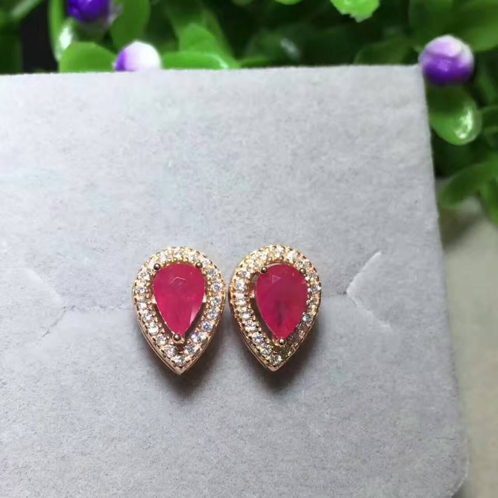 earrings love blood plated red romantic gold heart jewelry pin pigeon women ruby stud for