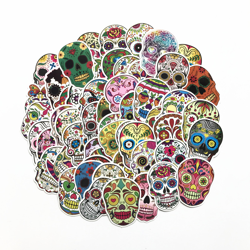 Image 2 - 60PCS/Package Mexican Calaver Sugar Skull Car Sticker Skateboard Laptop Luggage Decals car styling anime graffiti sticker suitca-in Car Stickers from Automobiles & Motorcycles